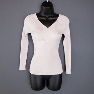 DYNAMITE Sweater Wrap Front Fitted Beige V-Neck